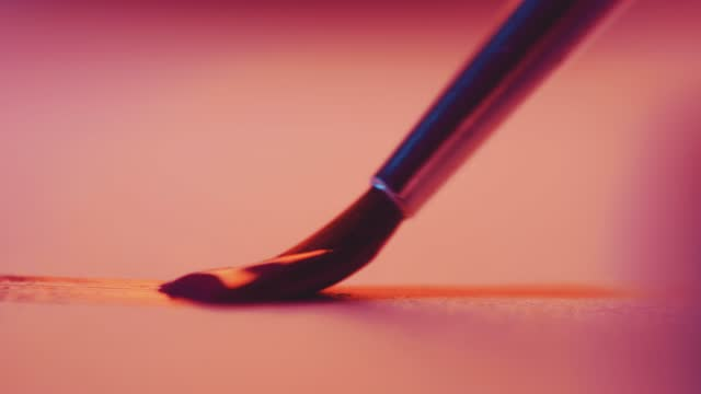 macro close up of an artist using a paintbrush to paint on paper, on march 17 2021, in bristol, united kingdom. - hobbies stock videos & royalty-free footage