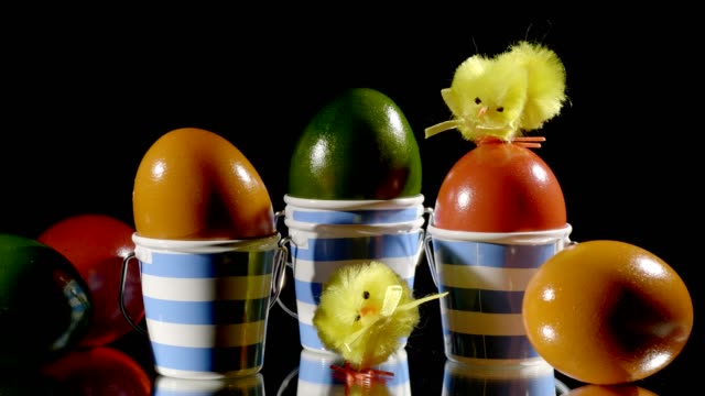 macro dolly: easter decoration isolated on black - ornate stock videos & royalty-free footage