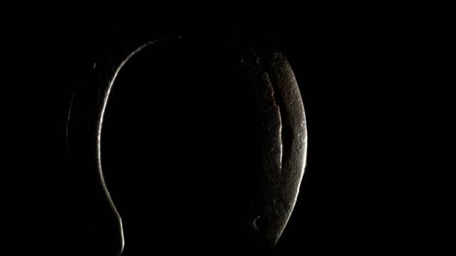 Macro dolly: horseshoe on black background