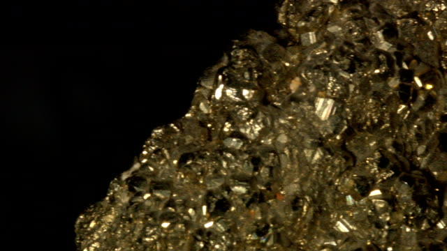macro dolly: pyrite on black - iron ore stock videos & royalty-free footage