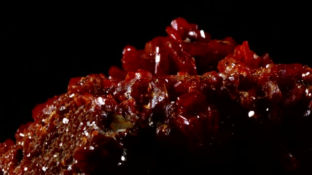 macro dolly: vanadinite on black - mineral stock videos & royalty-free footage