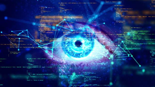 makroauge und computercodierung mit grünem bildschirm - brille stock-videos und b-roll-filmmaterial