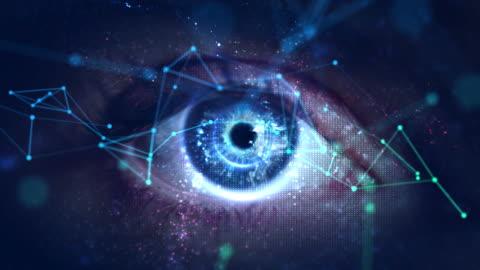 vídeos y material grabado en eventos de stock de macro ojo con alta tecnología (pantalla verde) - innovation