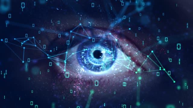 macro eye with high technology (green screen) - fingerprint stock videos & royalty-free footage
