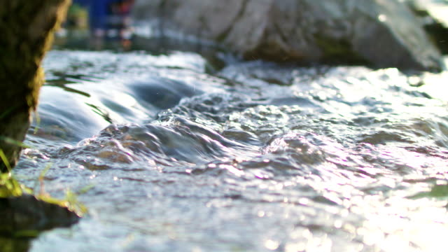 macro of flowing river with stones - grigliare video stock e b–roll