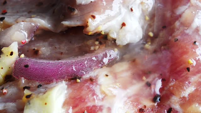 macro of marinated pork meat in the cuban cuisine style - marinated stock videos & royalty-free footage