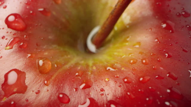 macro of red apple with water on it spinning - apple fruit stock videos & royalty-free footage
