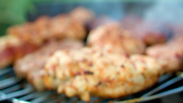 macro of steaks on grill being seasoned - grigliare video stock e b–roll