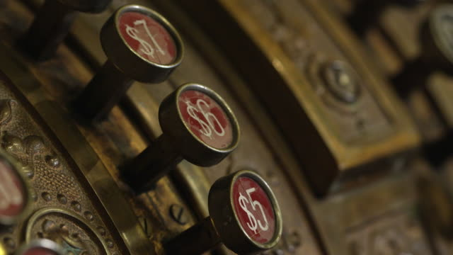 macro panning view of old cash register. - cash register stock videos & royalty-free footage