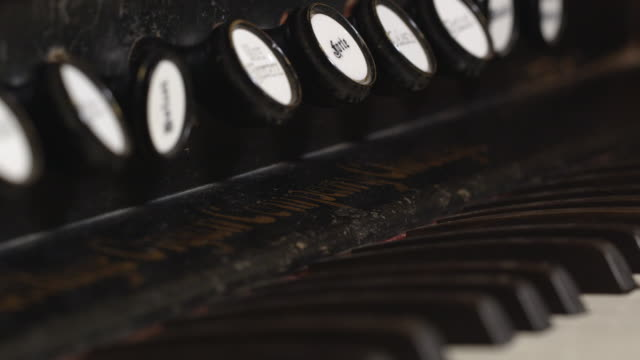 Macro panning view of old organ keys