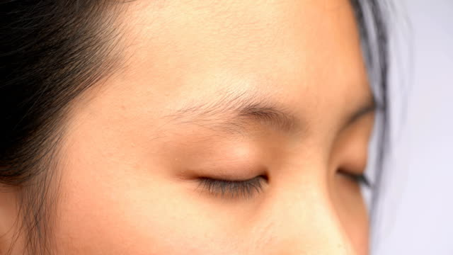 4K CU Macro shot of Asian Woman Eye Open and Closed