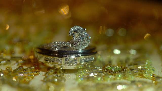 macro shot of wedding rings - studio shot stock videos & royalty-free footage