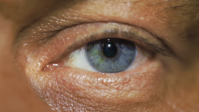 stockvideo's en b-roll-footage met macro view: man looks at you with left blue eye and blinks - netvlies