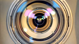 A macro view of a working camera lens.