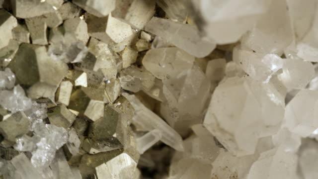 macro view of pyrite and quartz - quartz stock videos & royalty-free footage