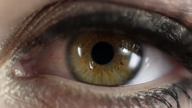 macro view of woman's eye blinking - 人間の眼点の映像素材/bロール