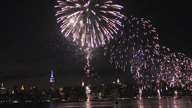 macy's fireworks view from brooklyn to manhattan over the east river - pyrotechnic effects stock videos & royalty-free footage