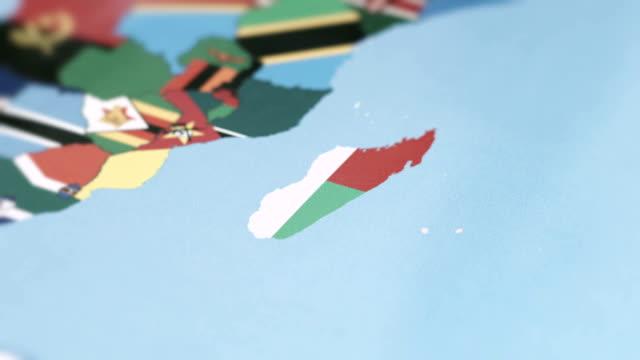 Madagascar Borders with National Flag on World Map