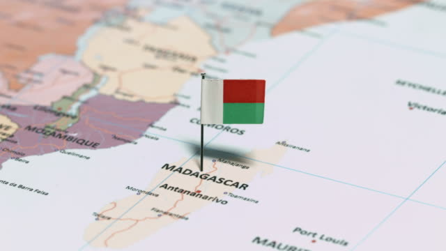 madagascar with national flag - continente area geografica video stock e b–roll
