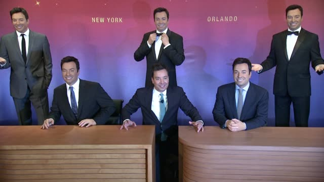 chyron madame tussauds and jimmy fallon debut five wax figures at madame tussauds ny at madame tussauds on march 27 2015 in new york city - jimmy fallon stock videos and b-roll footage