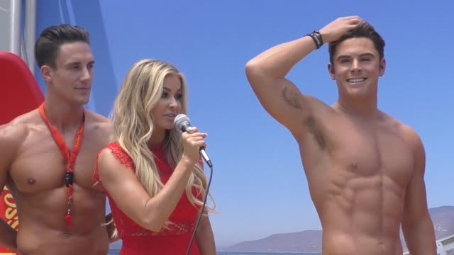 madame tussauds hollywood unveils new zac efron 'baywatch' wax figure with carmen electra the men from australia's thunder from down under in... - madame tussauds stock videos & royalty-free footage
