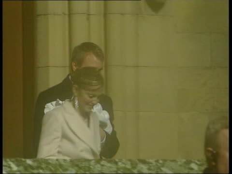 maddonna wedding to guy ritchie; lib night gv madonna, guy ritchie & baby son rocco emerging from doors of dornoch cathedral following christening... - celebrities video stock e b–roll