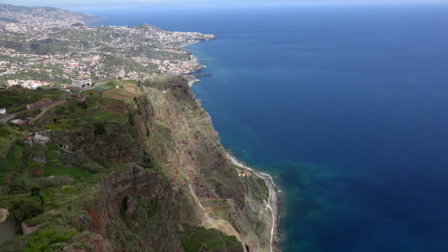 madeira view from very high sea cliff - steep hill stock videos & royalty-free footage