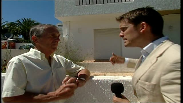description of suspect kirby interview with reporter in shot sot - madeleine mccann video stock e b–roll