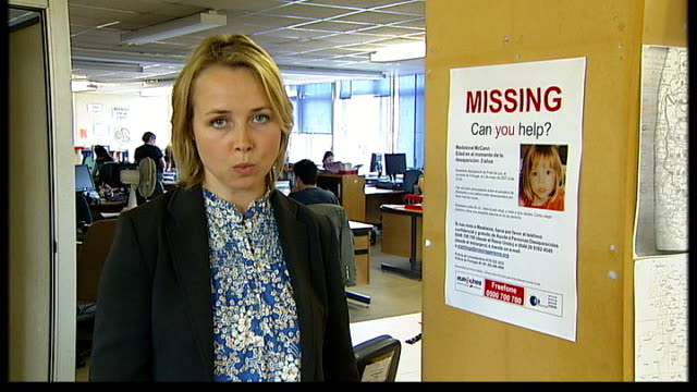 madeleine mccann abduction/ global scale of search london national missing persons helpline int charity worker speaking on telephone sot board... - missing persons stock videos & royalty-free footage