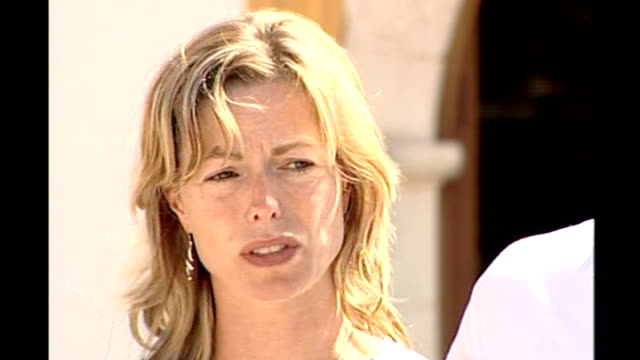 madeleine mccann abduction: mother makes appeal; kate mccann press conference sot - expresses gratitude / please continue to pray for madeleine,... - kate mccann stock-videos und b-roll-filmmaterial