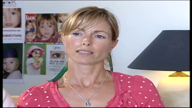 Parents interview PORTUGAL The Algarve Praia da Luz INT Kate McCann interview SOT first 72 hours were difficult / since then have got stronger / have...