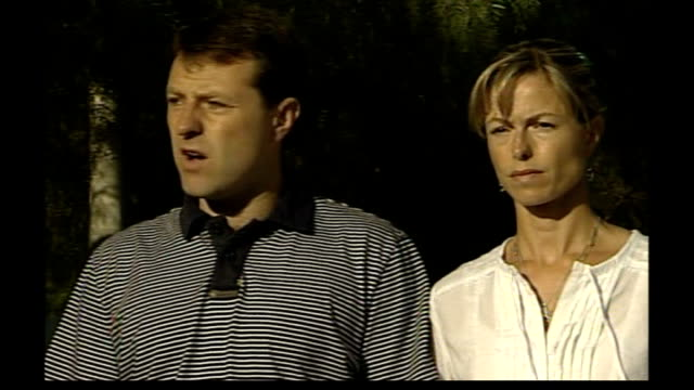 madeleine mccann abduction: parents speak out / police question 3 people; gerry mccann and kate mccann along gerry mccann speaking to press sot - on... - missing people stock videos & royalty-free footage