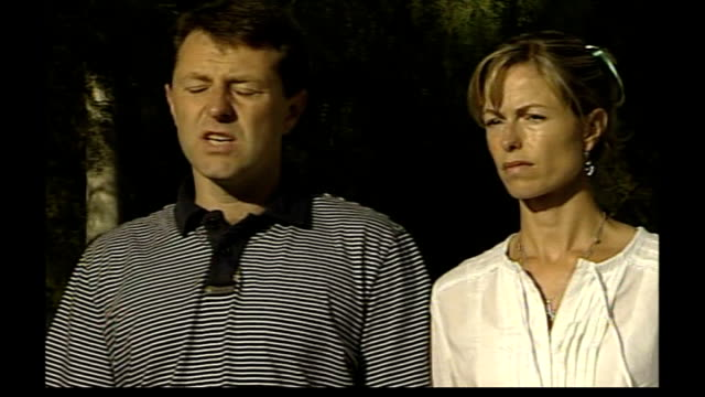 parents speak out / police question 3 people gerry mccann speaking to press sot on the easing of their burden since lawyers have been involved / this... - fall madeleine mccann stock-videos und b-roll-filmmaterial