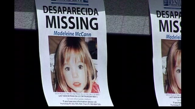 madeleine mccann abduction: parents speak out / police question 3 people; posters appealing for help in finding madeleine - vermißte person stock-videos und b-roll-filmmaterial