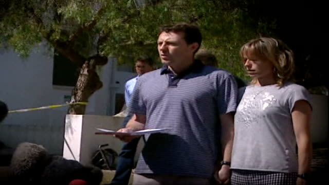 report on a mother's anguish VIA EBU Kate McCann with husband Gerry as he reads statement to press