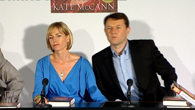 madeleine mccann disappearance: kate and gerry mccann book launch press conference; more of q&a session with gerry and kate mccann sot - fall madeleine mccann stock-videos und b-roll-filmmaterial