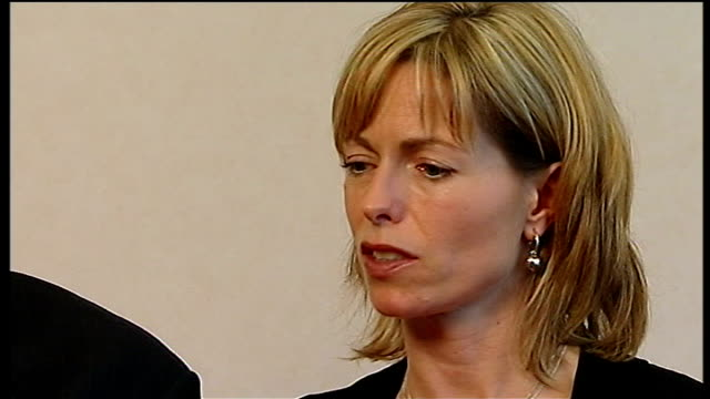 madeleine mccann disappearance: mccanns angered by leaked details from police interviews; gerry and kate mccann speaking at interview hand of kate... - disappearance of madeleine mccann stock videos & royalty-free footage