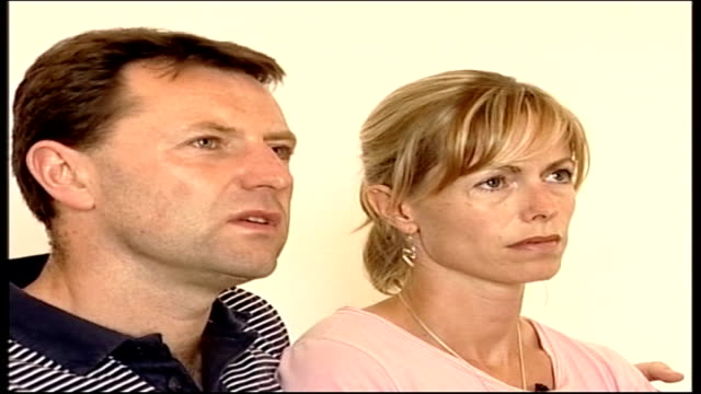 police ask to reinterview parents int kate and gerry mccann seated at interview kate holds large photograph of madeleine mccann - madeleine mccann stock videos & royalty-free footage