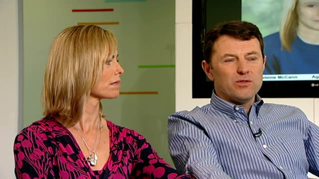 madeleine mccann disappearance:kate and gerry mccann anniversary interview; england: london: int kate and gerry mccann interview sot - 行方不明点の映像素材/bロール