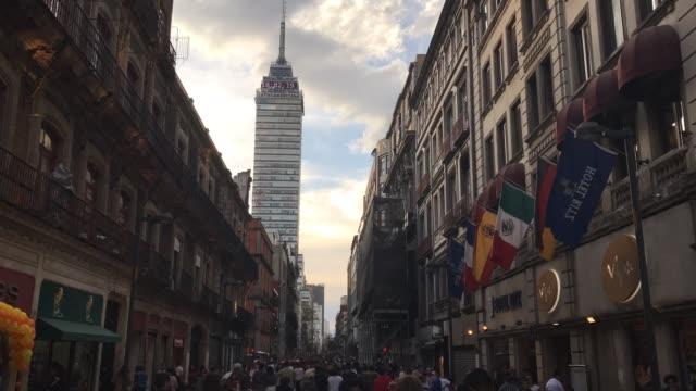 madero street time lapse - torre latinoamericana stock videos & royalty-free footage