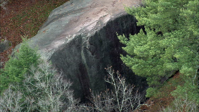 madison boulder  - aerial view - new hampshire,  carroll county,  united states - rocking stock videos & royalty-free footage