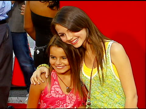 madison justice and victoria justice at the 'little man' premiere at the mann national theatre in westwood california on july 6 2006 - 2006 stock videos & royalty-free footage