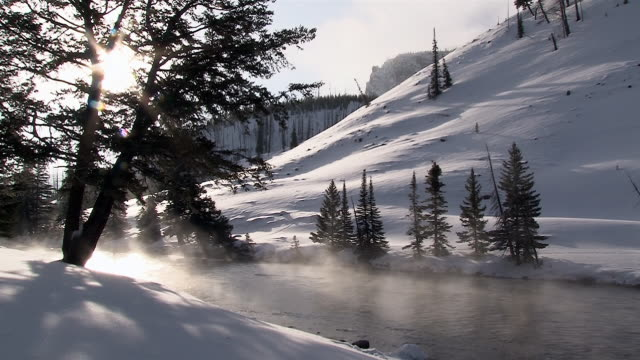 madison river scenics in yellowstone national park, wyoming, in winter - yellowstone river stock videos and b-roll footage