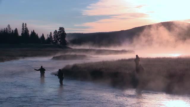 vidéos et rushes de madison river with mist rising, dawn, fishermen casting, autumn in yellowstone national park - lancer la ligne de canne à pêche