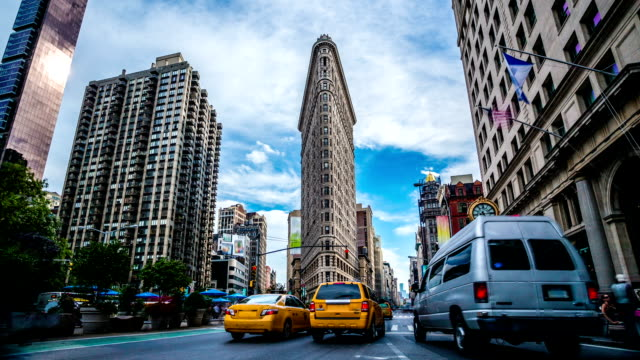 madison square flatiron new york time lapse - largo descrizione generale video stock e b–roll