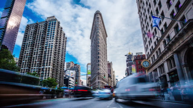 4k madison square flatiron new york timelapse - nyc stock videos and b-roll footage