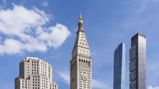 madison square park skyline time lapse - new york - klocktorn bildbanksvideor och videomaterial från bakom kulisserna