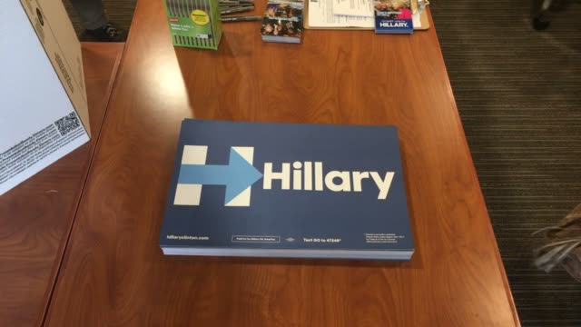 clip 3: shot of hillary signs on the table - ブラッドリー ウィトフォード点の映像素材/bロール