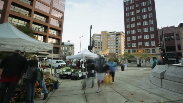 madison wisconsin- farmers market / downtown / time lapse - wisconsin stock videos & royalty-free footage