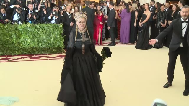 madonna at heavenly bodies: fashion & the catholic imagination costume institute gala at the metropolitan museum of art on may 07, 2018 in new york... - マドンナ点の映像素材/bロール